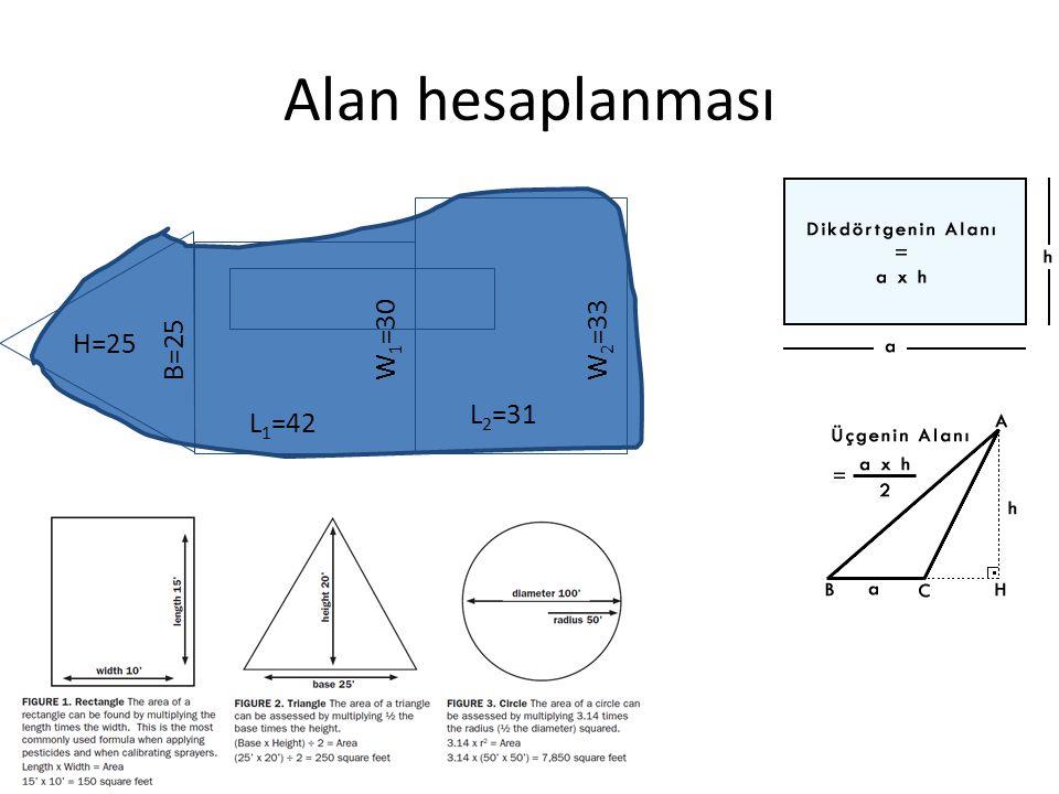 Alan hesaplanması H=25 B=25 L1=42 L2=31 W1=30 W2=33