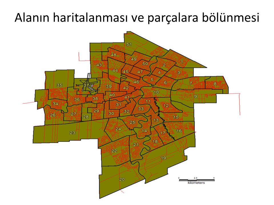 Alanın haritalanması ve parçalara bölünmesi