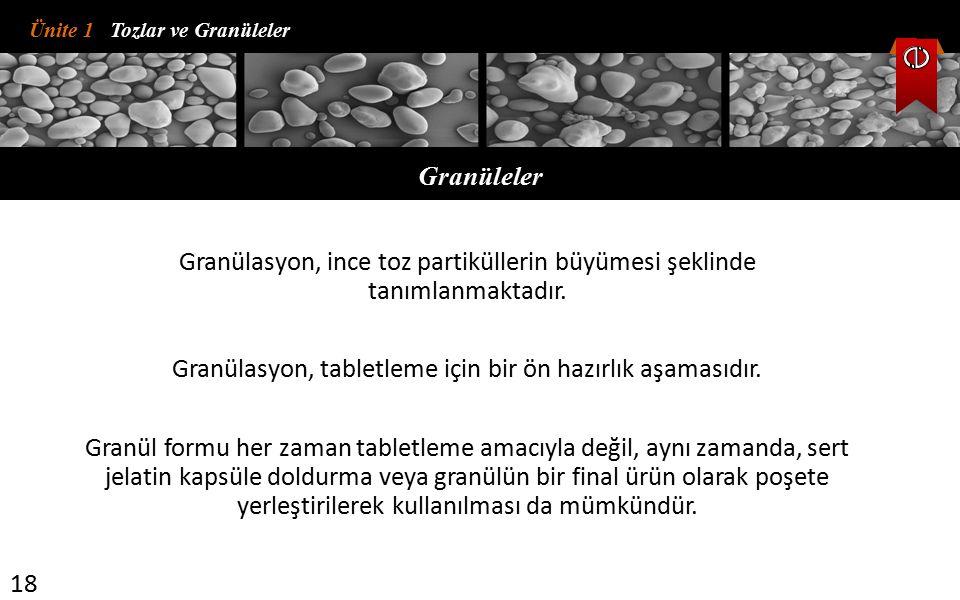 Granülasyon, tabletleme için bir ön hazırlık aşamasıdır.