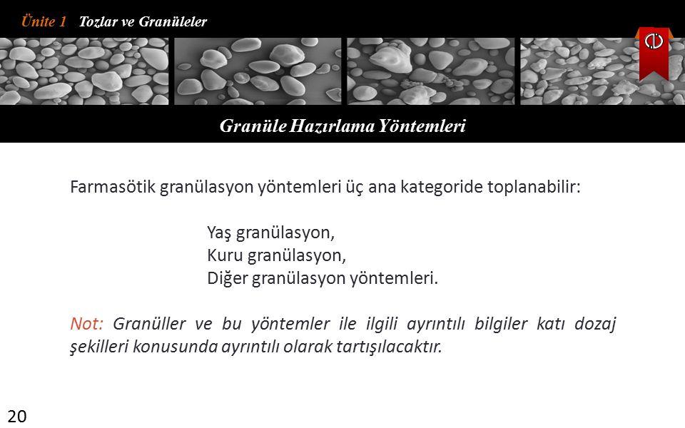 Granüle Hazırlama Yöntemleri