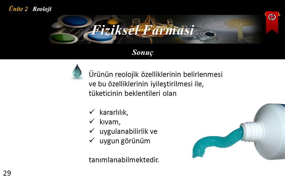 Fiziksel Farmasi Sonuç Ürünün reolojik özelliklerinin belirlenmesi