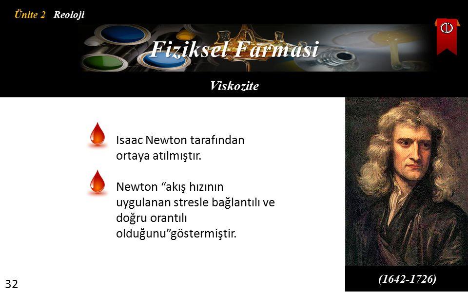 Fiziksel Farmasi Viskozite Isaac Newton tarafından ortaya atılmıştır.