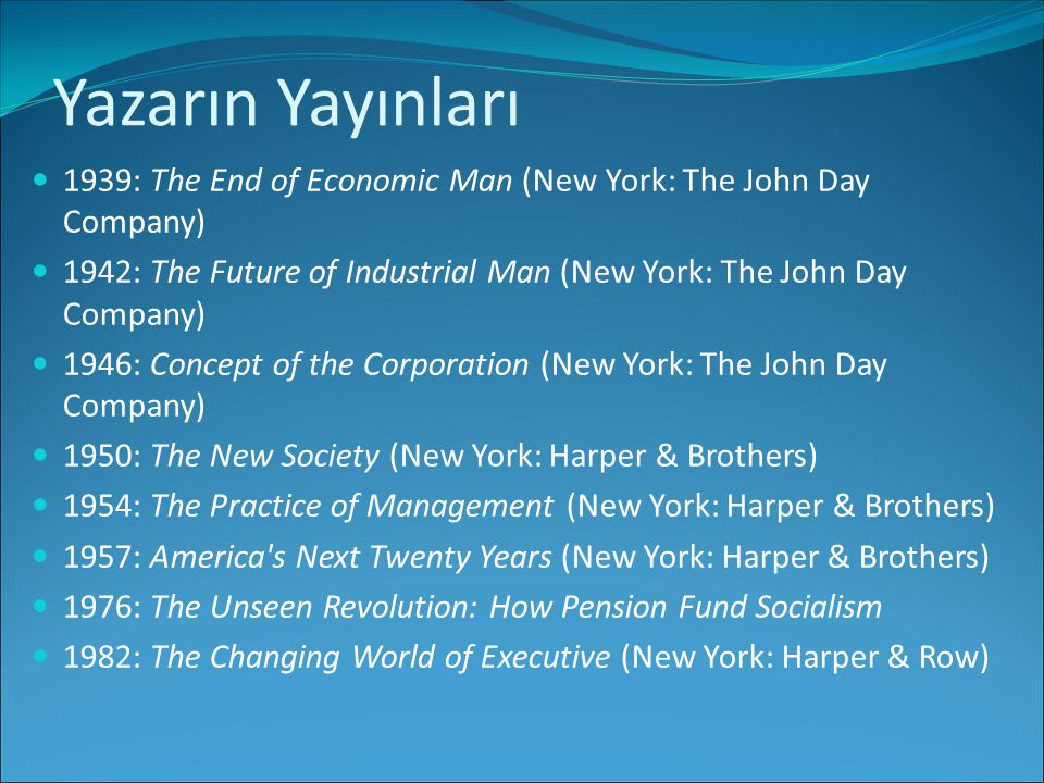 Yazarın Yayınları 1939: The End of Economic Man (New York: The John Day Company) 1942: The Future of Industrial Man (New York: The John Day Company)