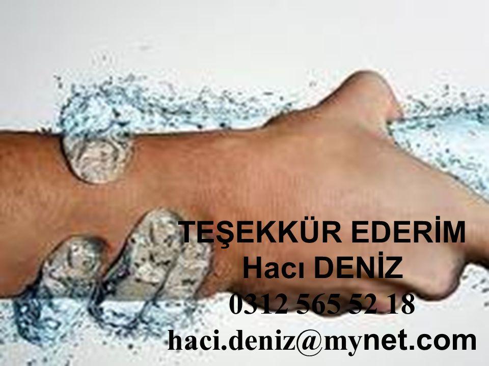TEŞEKKÜR EDERİM Hacı DENİZ 0312 565 52 18 haci.deniz@mynet.com