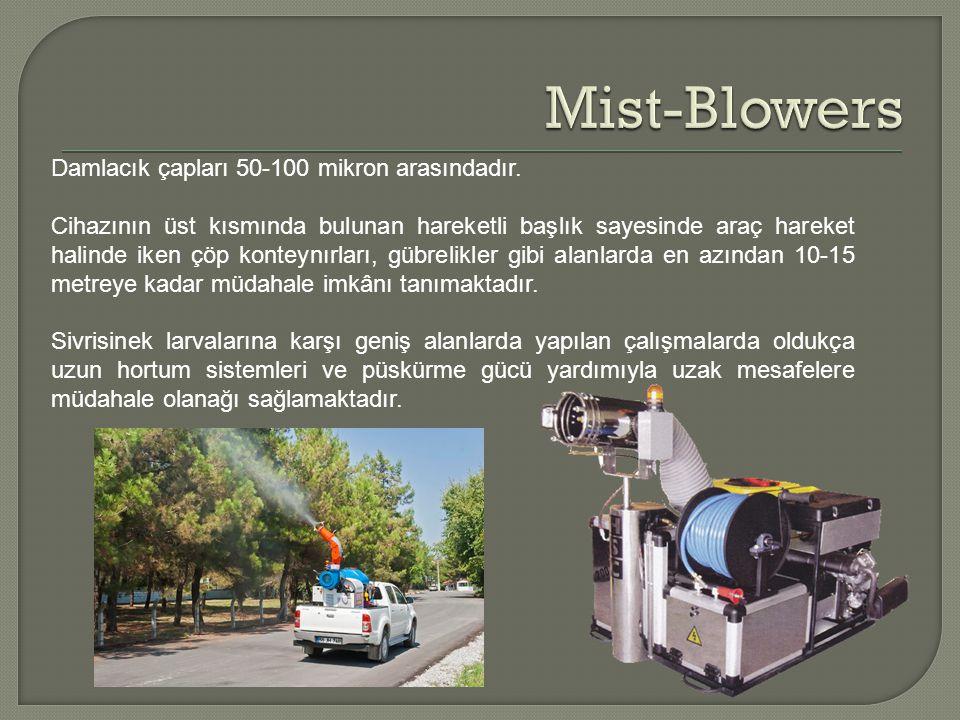 Mist-Blowers Damlacık çapları 50-100 mikron arasındadır.