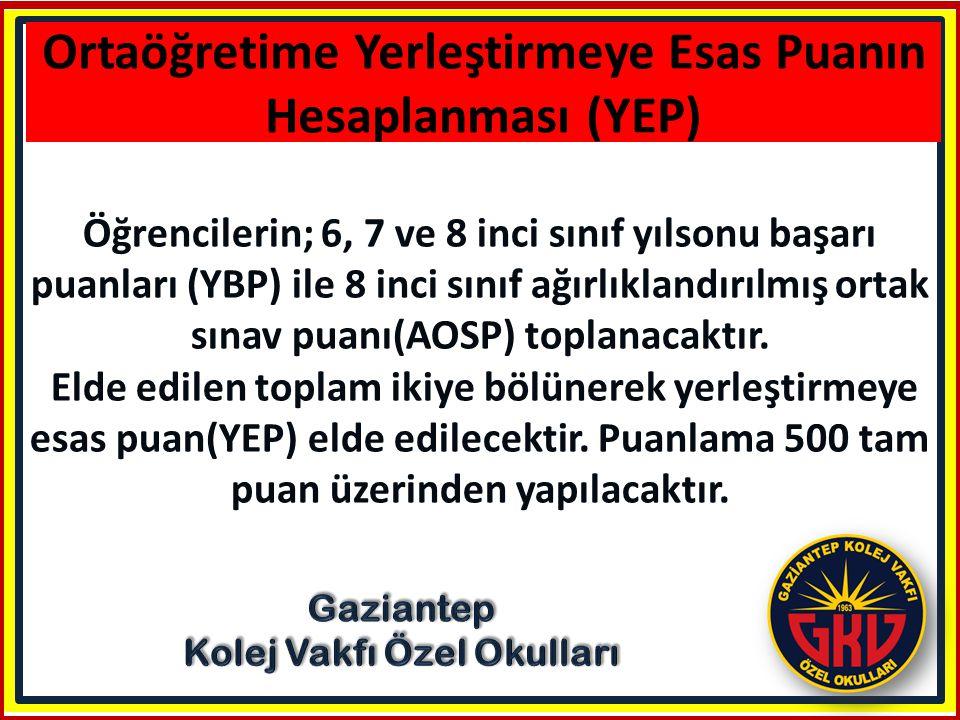 Ortaöğretime Yerleştirmeye Esas Puanın Hesaplanması (YEP)