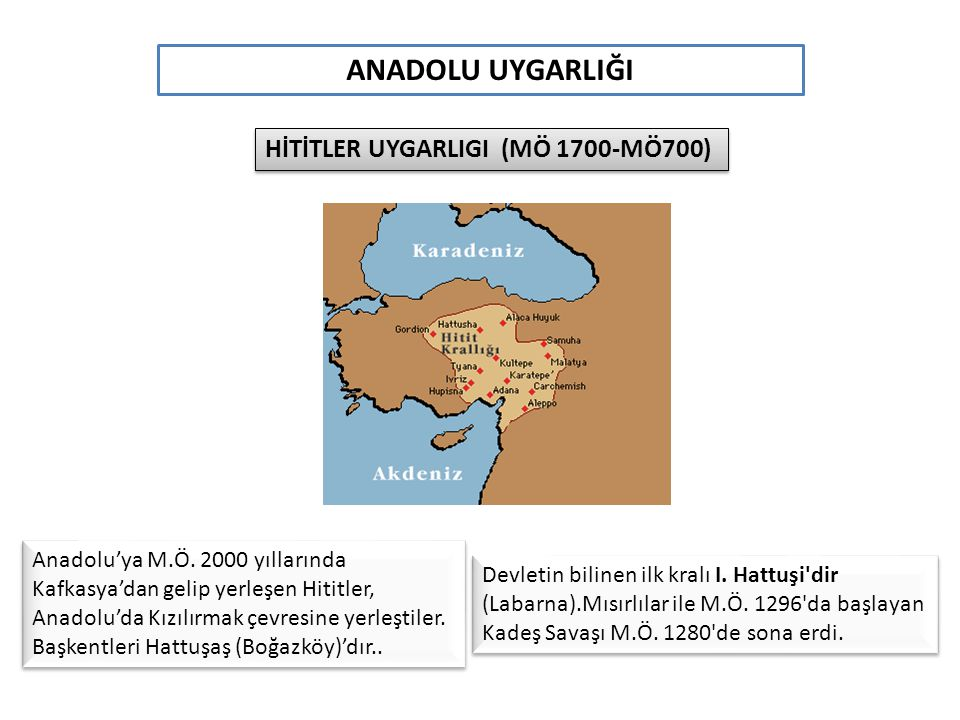 ANADOLU UYGARLIĞI HİTİTLER UYGARLIGI (MÖ 1700-MÖ700)
