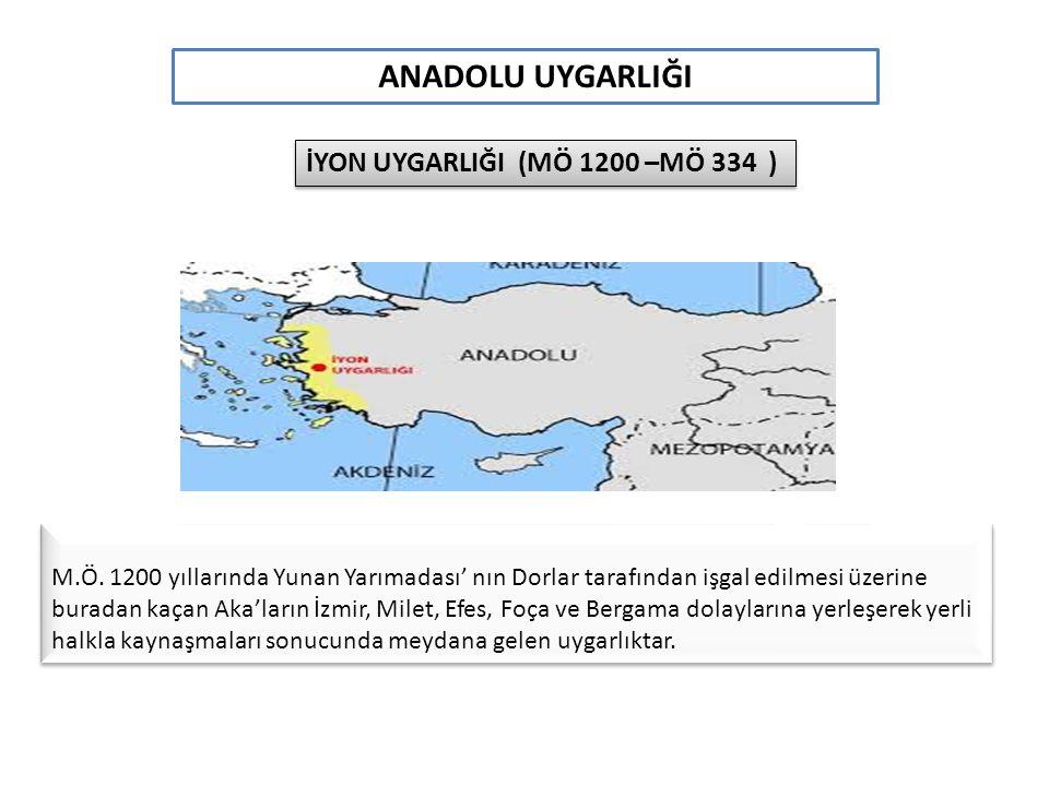 ANADOLU UYGARLIĞI İYON UYGARLIĞI (MÖ 1200 –MÖ 334 )