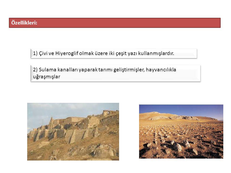 Özellikleri: 1) Çivi ve Hiyeroglif olmak üzere iki çeşit yazı kullanmışlardır.