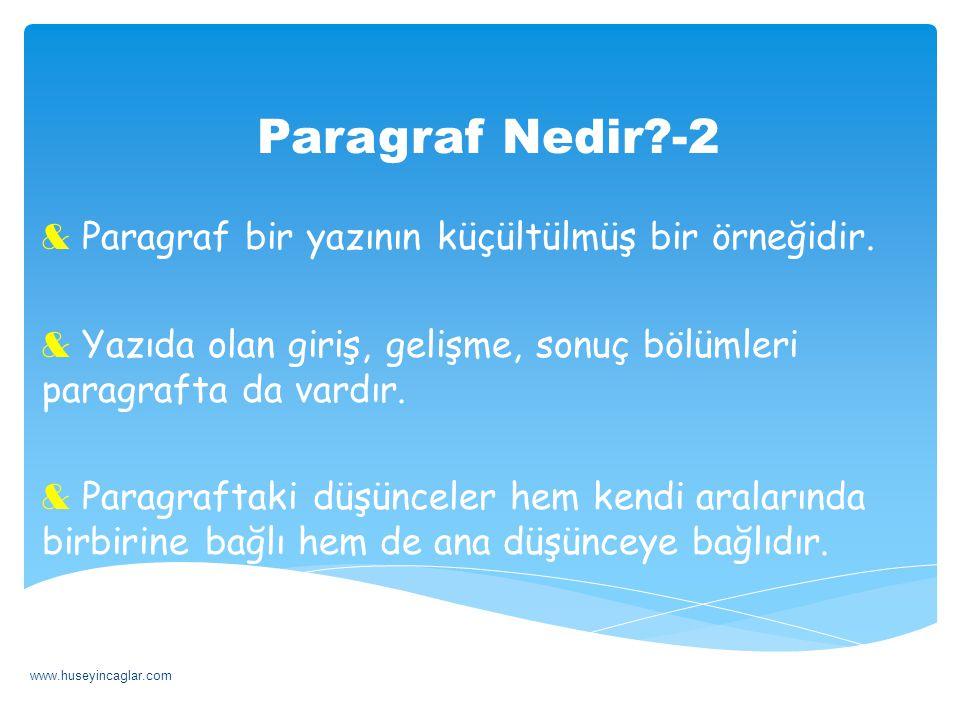 Paragraf Nedir -2 Paragraf bir yazının küçültülmüş bir örneğidir.