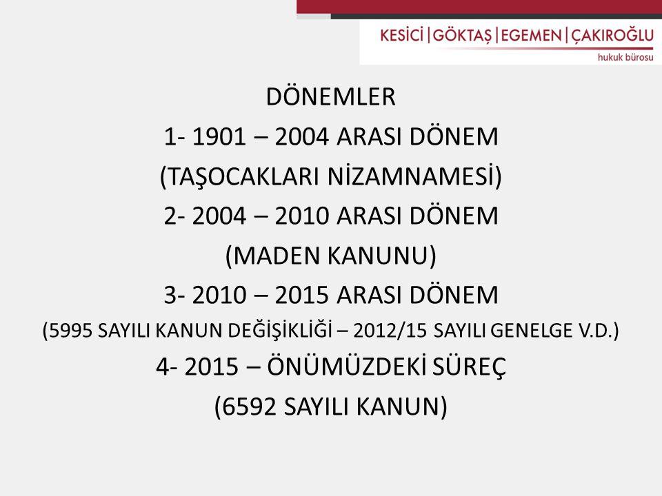 (TAŞOCAKLARI NİZAMNAMESİ) 2- 2004 – 2010 ARASI DÖNEM (MADEN KANUNU)