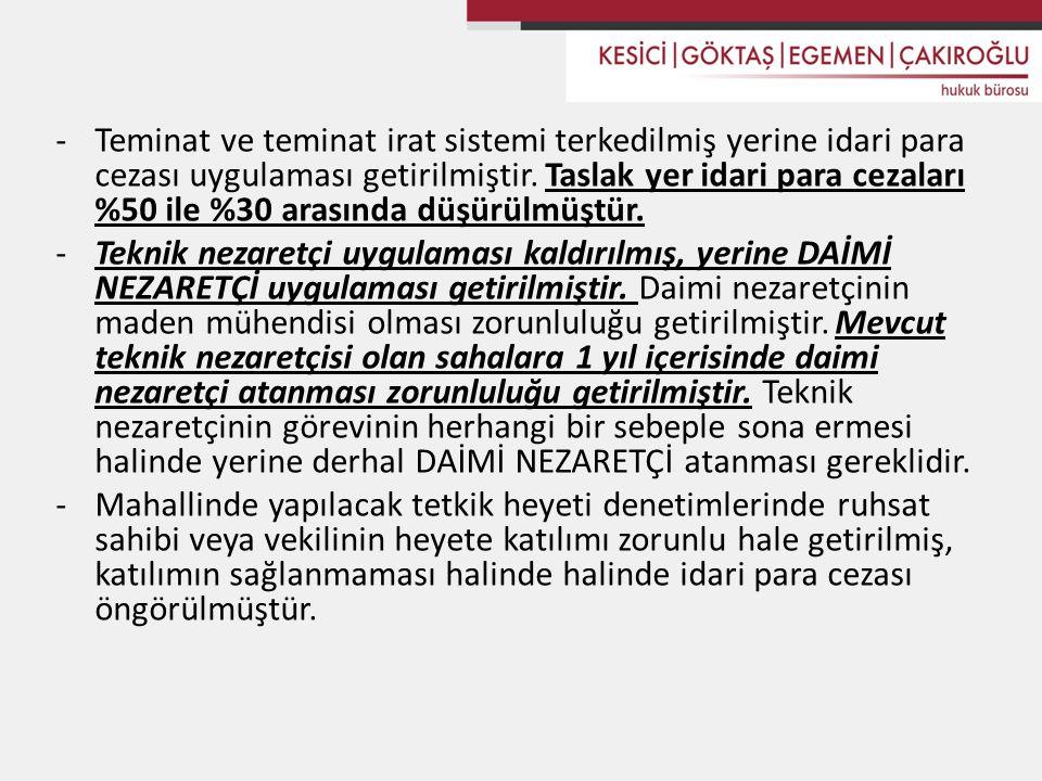 Teminat ve teminat irat sistemi terkedilmiş yerine idari para cezası uygulaması getirilmiştir. Taslak yer idari para cezaları %50 ile %30 arasında düşürülmüştür.