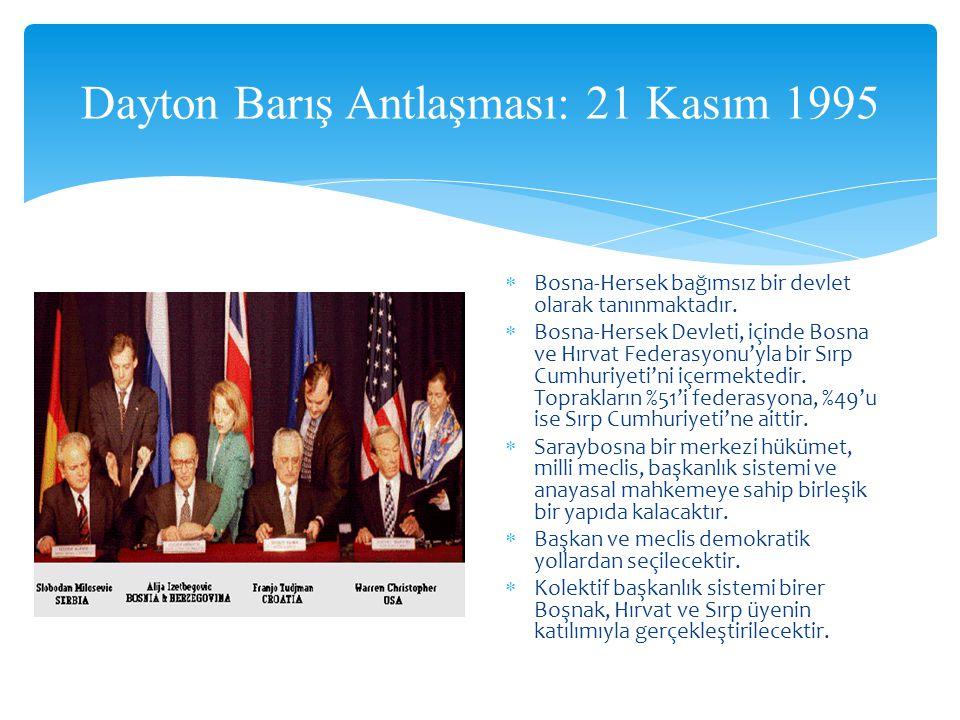 Dayton Barış Antlaşması: 21 Kasım 1995