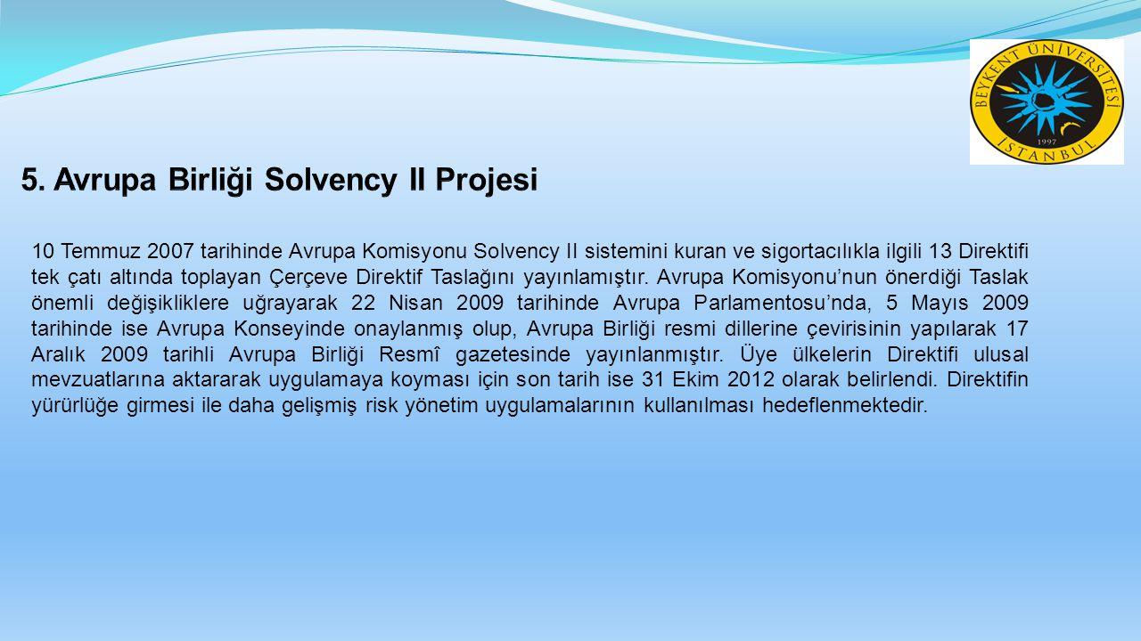 5. Avrupa Birliği Solvency II Projesi