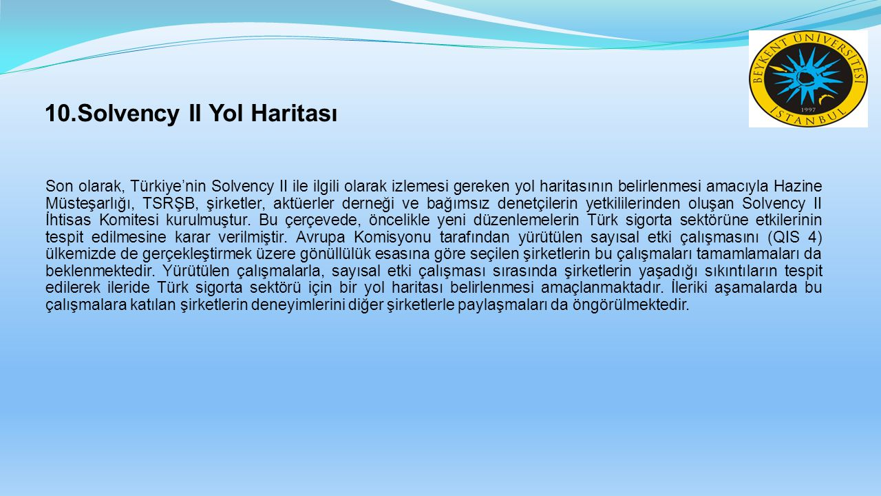 10.Solvency II Yol Haritası