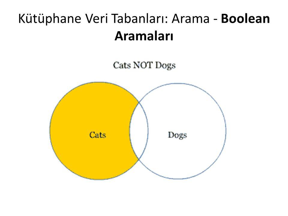 Kütüphane Veri Tabanları: Arama - Boolean Aramaları