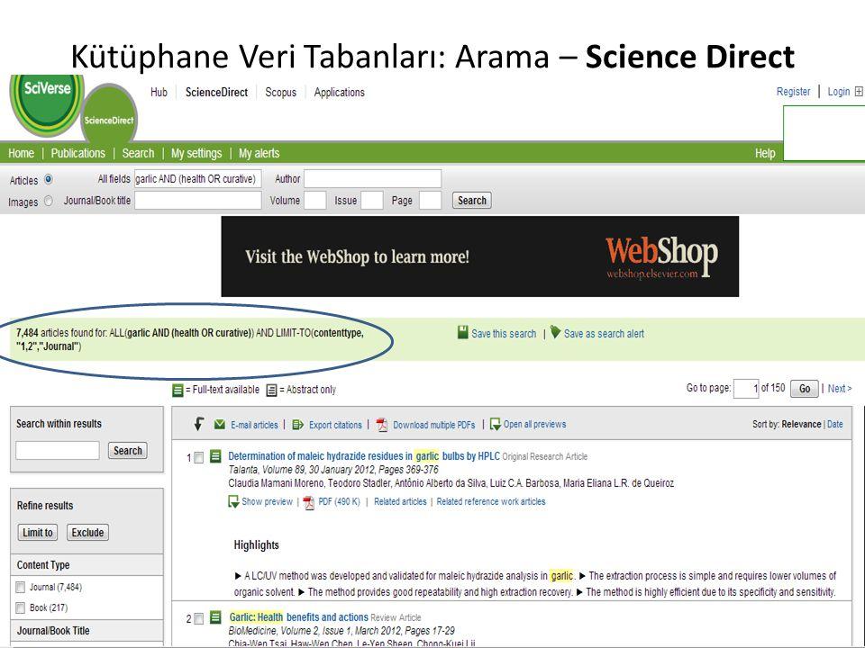 Kütüphane Veri Tabanları: Arama – Science Direct