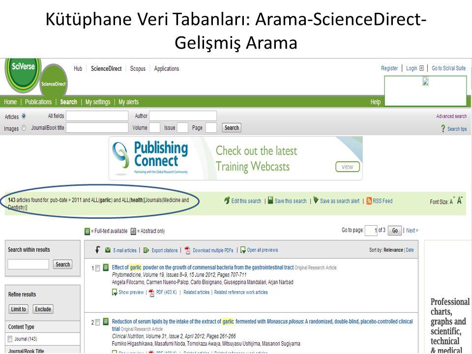 Kütüphane Veri Tabanları: Arama-ScienceDirect-Gelişmiş Arama