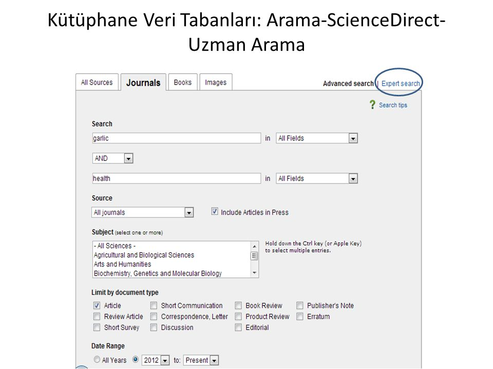 Kütüphane Veri Tabanları: Arama-ScienceDirect-Uzman Arama