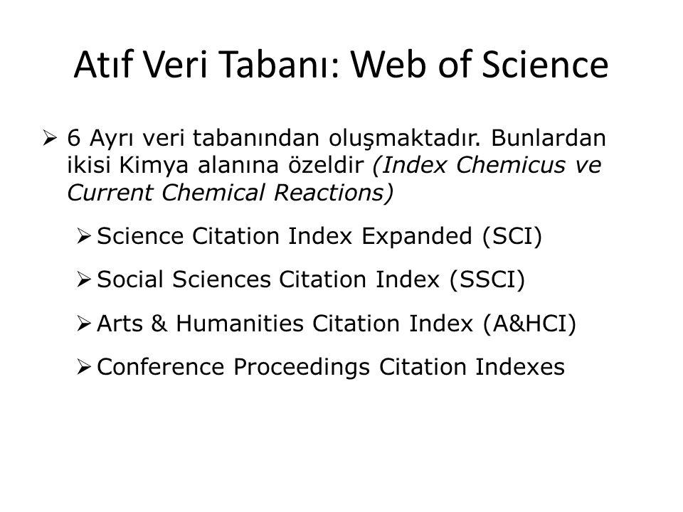 Atıf Veri Tabanı: Web of Science
