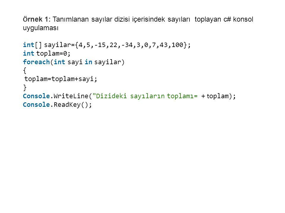 Örnek 1: Tanımlanan sayılar dizisi içerisindek sayıları toplayan c# konsol uygulaması