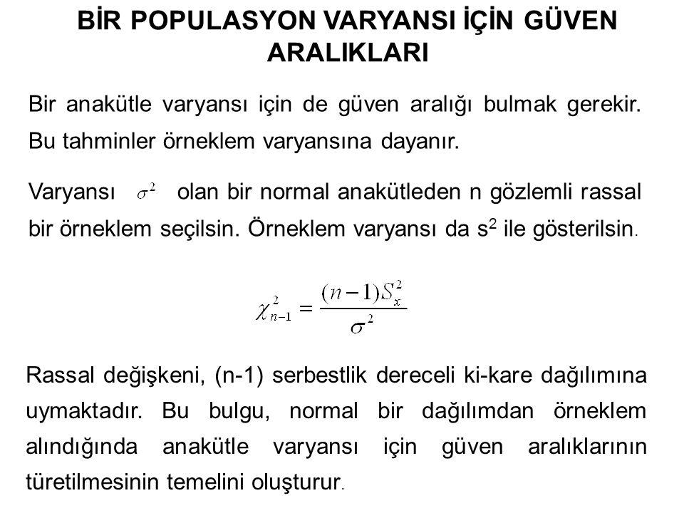 BİR POPULASYON VARYANSI İÇİN GÜVEN ARALIKLARI