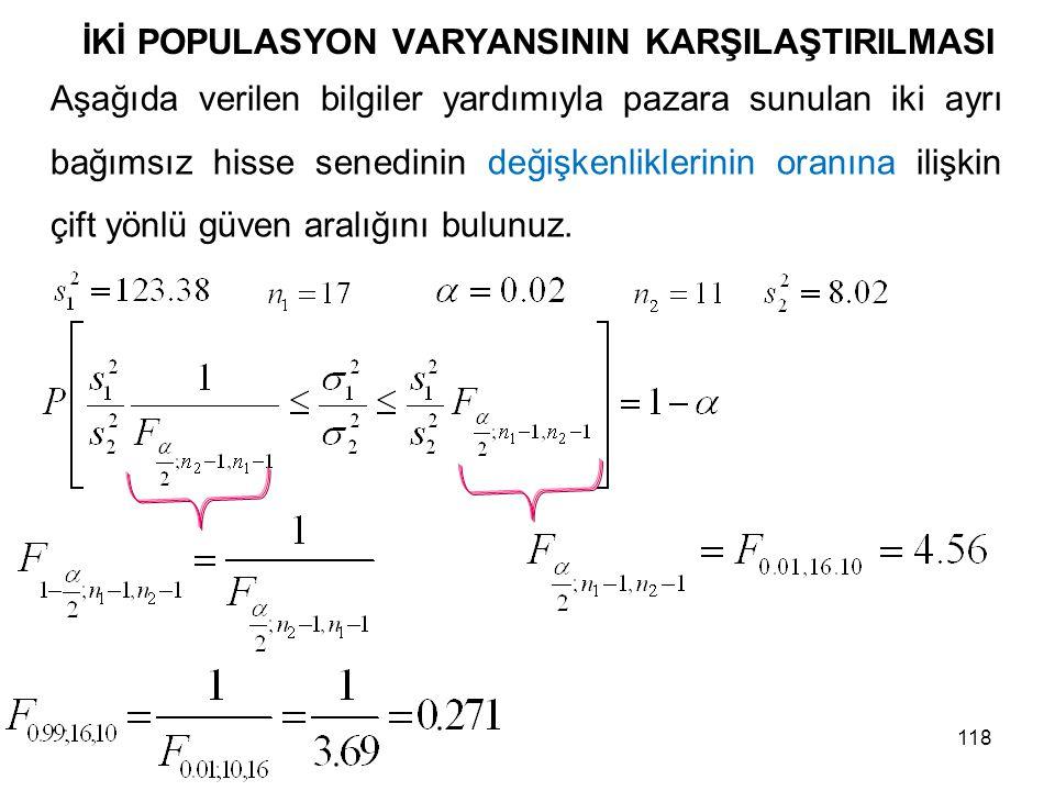İKİ POPULASYON VARYANSININ KARŞILAŞTIRILMASI