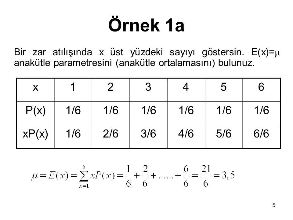 Örnek 1a x 1 2 3 4 5 6 P(x) 1/6 xP(x) 2/6 3/6 4/6 5/6 6/6