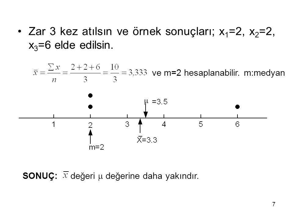 Zar 3 kez atılsın ve örnek sonuçları; x1=2, x2=2, x3=6 elde edilsin.