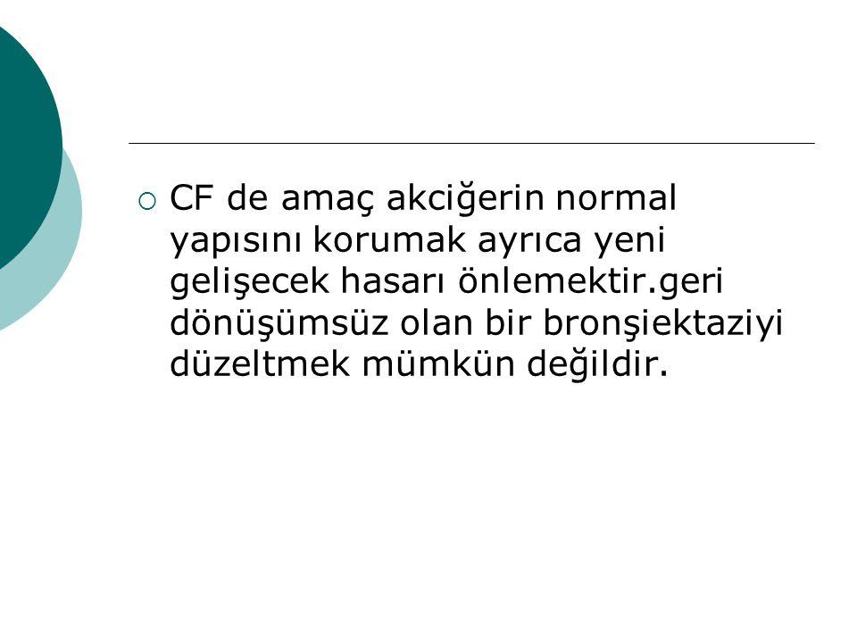 CF de amaç akciğerin normal yapısını korumak ayrıca yeni gelişecek hasarı önlemektir.geri dönüşümsüz olan bir bronşiektaziyi düzeltmek mümkün değildir.
