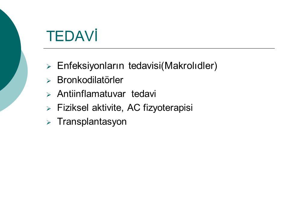 TEDAVİ Enfeksiyonların tedavisi(Makrolıdler) Bronkodilatörler