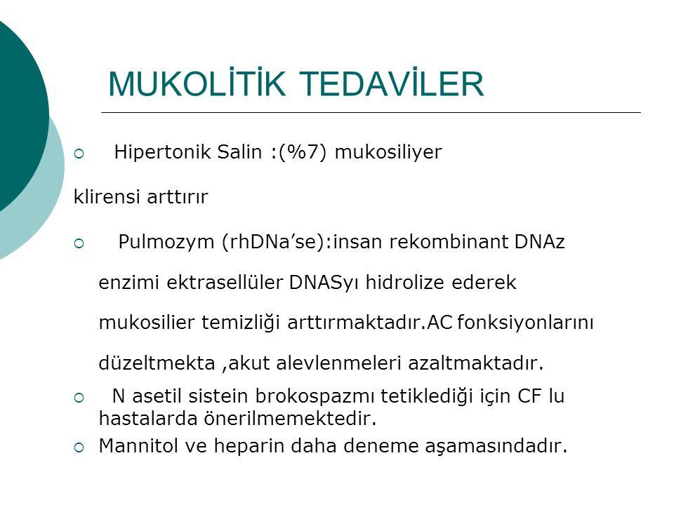 MUKOLİTİK TEDAVİLER Hipertonik Salin :(%7) mukosiliyer