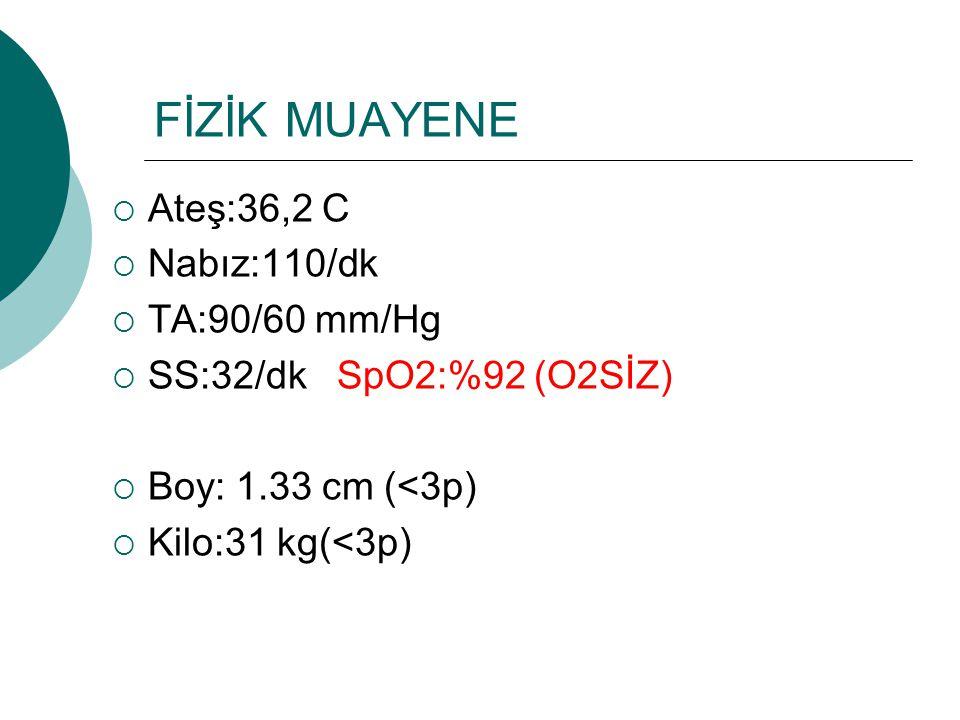 FİZİK MUAYENE Ateş:36,2 C Nabız:110/dk TA:90/60 mm/Hg
