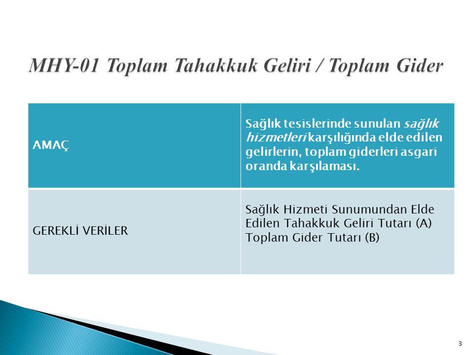 MHY-01 Toplam Tahakkuk Geliri / Toplam Gider