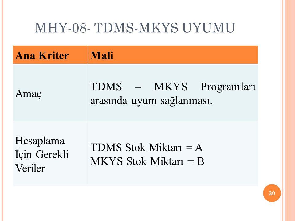 MHY-08- TDMS-MKYS UYUMU Ana Kriter Mali Amaç