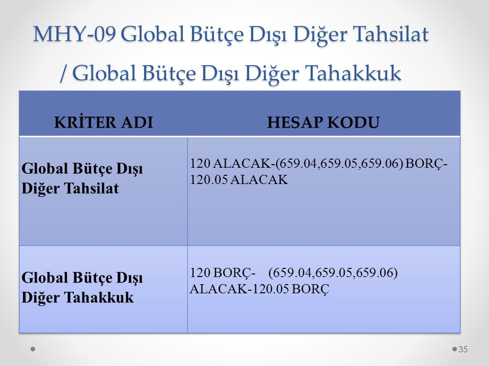 MHY-09 Global Bütçe Dışı Diğer Tahsilat / Global Bütçe Dışı Diğer Tahakkuk