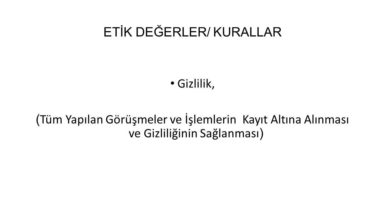 ETİK DEĞERLER/ KURALLAR
