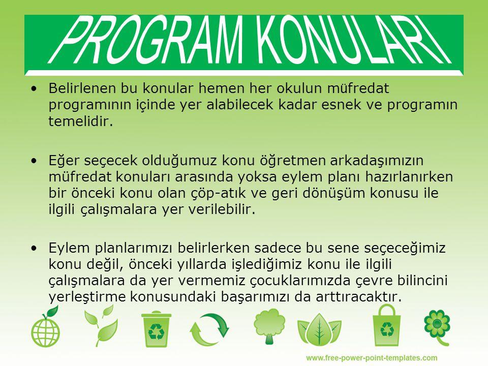 PROGRAM KONULARI Belirlenen bu konular hemen her okulun müfredat programının içinde yer alabilecek kadar esnek ve programın temelidir.