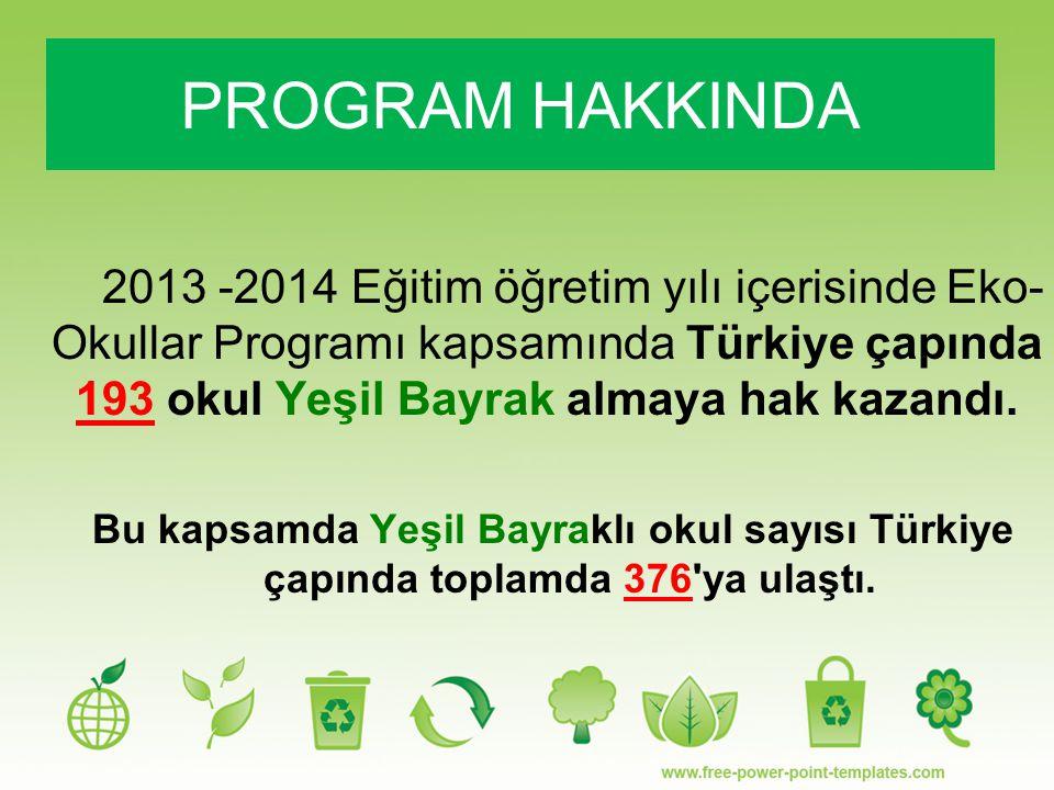 PROGRAM HAKKINDA 2013 -2014 Eğitim öğretim yılı içerisinde Eko-Okullar Programı kapsamında Türkiye çapında 193 okul Yeşil Bayrak almaya hak kazandı.