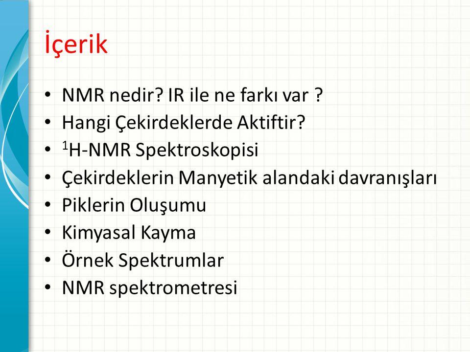 İçerik NMR nedir IR ile ne farkı var Hangi Çekirdeklerde Aktiftir
