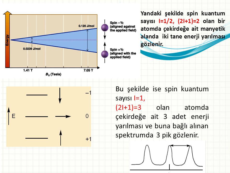 Bu şekilde ise spin kuantum sayısı I=1,