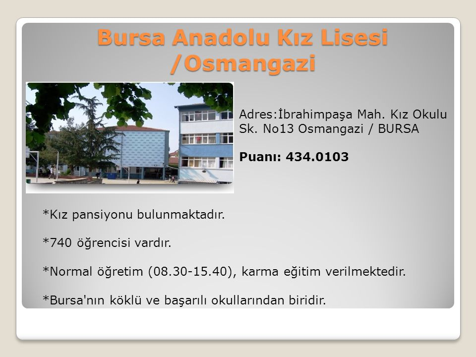 Bursa Anadolu Kız Lisesi /Osmangazi