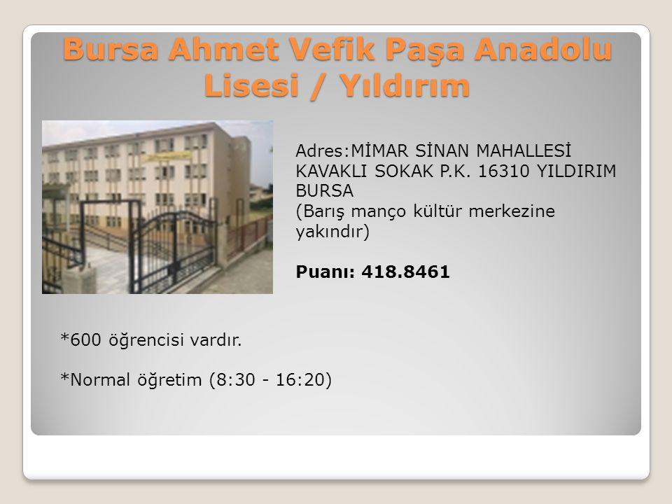 Bursa Ahmet Vefik Paşa Anadolu Lisesi / Yıldırım