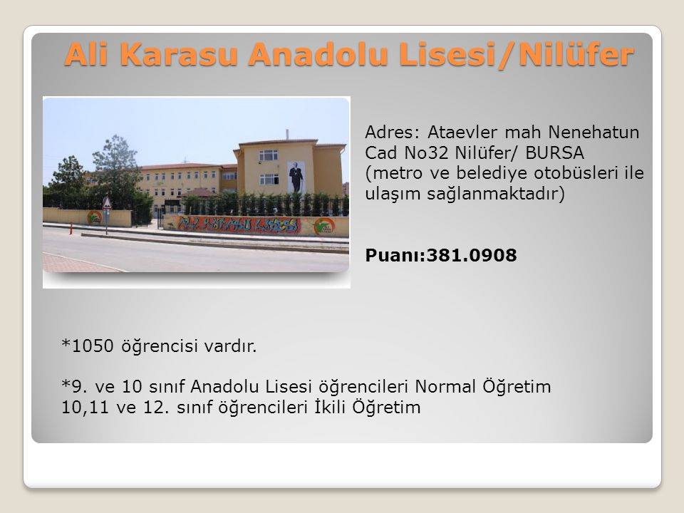 Ali Karasu Anadolu Lisesi/Nilüfer
