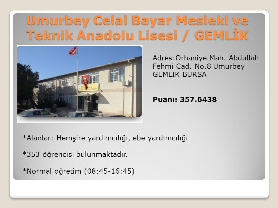 Umurbey Celal Bayar Mesleki ve Teknik Anadolu Lisesi / GEMLİK