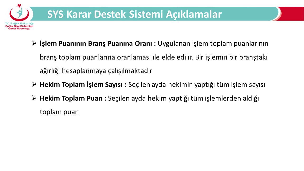 SYS Karar Destek Sistemi Açıklamalar