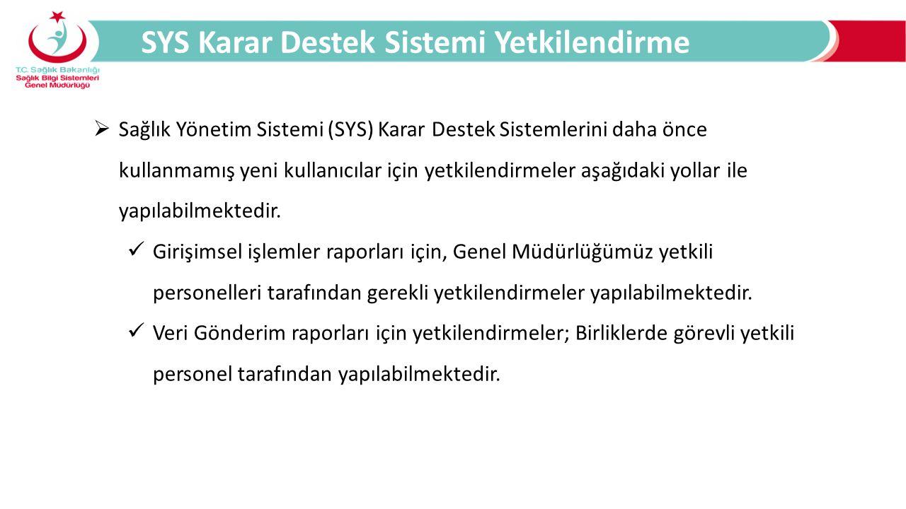 SYS Karar Destek Sistemi Yetkilendirme