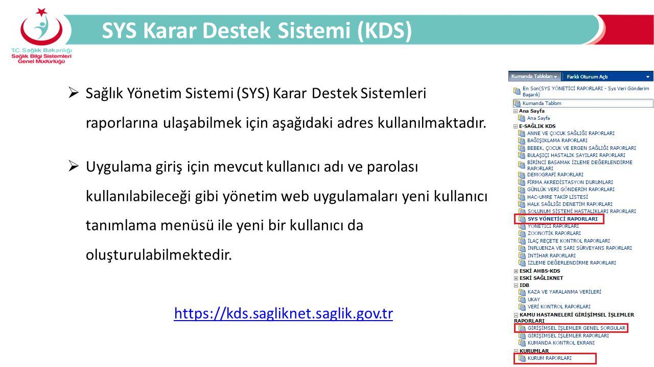 SYS Karar Destek Sistemi (KDS)