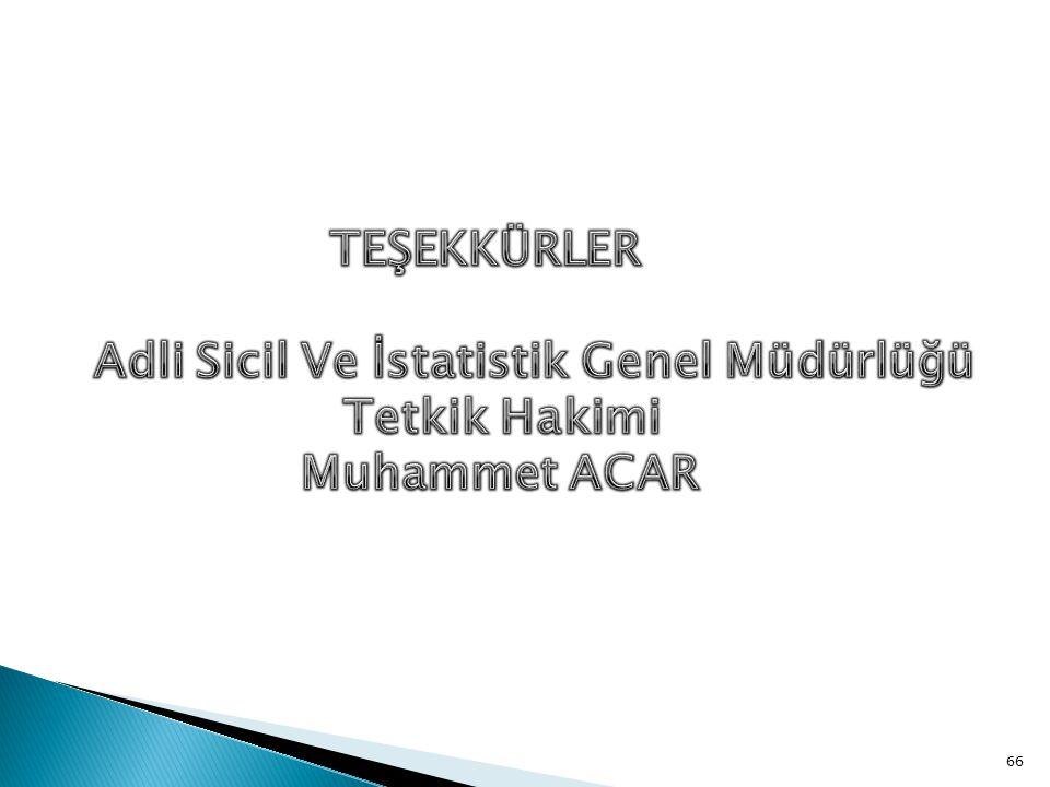 TEŞEKKÜRLER Adli Sicil Ve İstatistik Genel Müdürlüğü Tetkik Hakimi Muhammet ACAR