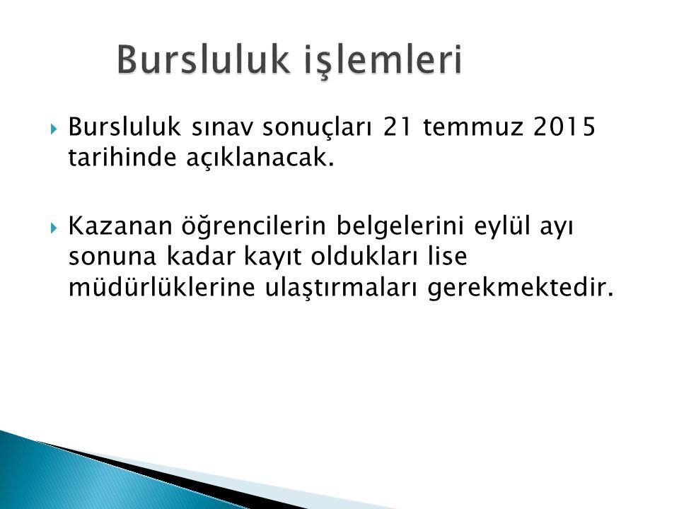 Bursluluk işlemleri Bursluluk sınav sonuçları 21 temmuz 2015 tarihinde açıklanacak.